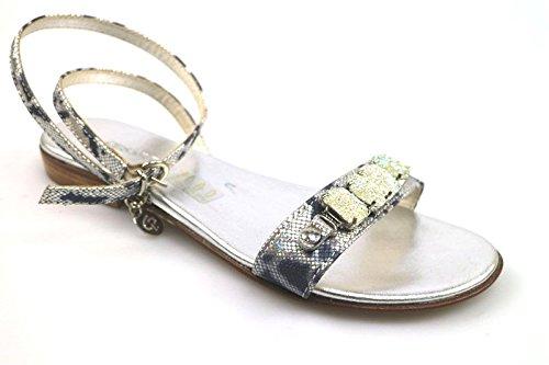 scarpe donna CESARE P. 36 sandali blu argento pelle tessuto AS910