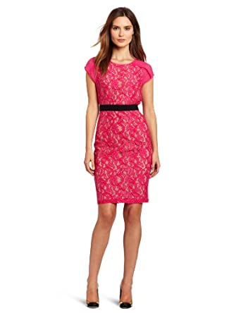 BCBGMAXAZRIA Women's Chara Knit Cocktail Dress, Begonia, 0