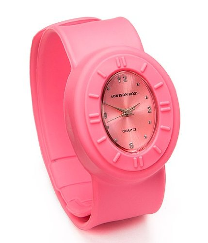 Addison Ross Unisex Quartz Watch with Pink Dial Analogue Display and Pink Silicone Strap WA0030