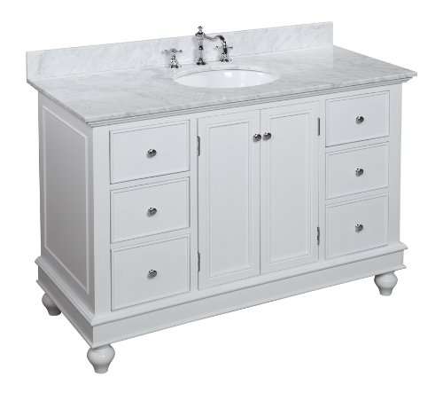Pressleycjames Cheap Bella 48 Inch Bathroom Vanity Carrera White Includes An Italian Carrera