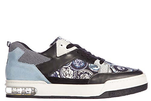 Kenzo scarpe sneakers uomo in pelle nuove yale multilogo blu EU 42 M47955