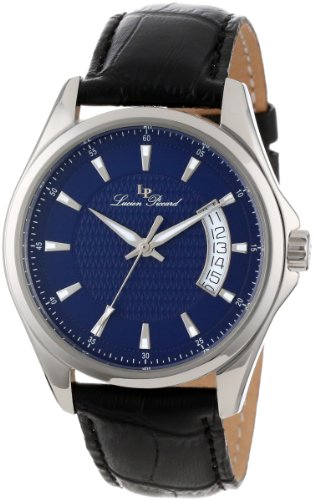 Lucien Piccard Men's 98660-03 Excalibur Blue Textured Dial Black Leather Watch