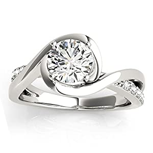 Women's Diamond Bypass Engagement Ring Setting in Palladium (0.13ct)