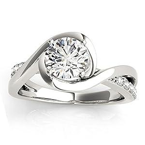 Women's Diamond Bypass Engagement Ring Setting in Platinum (0.13ct)