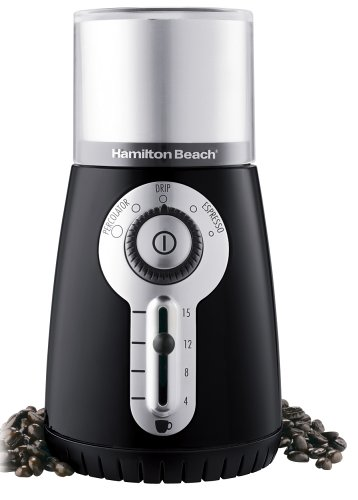Hamilton Beach 80374 Custom Grind Hands-Free Coffee Grinder, Black