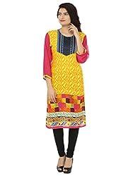 Adhaans Yellow Casual Printed Women's Kurti