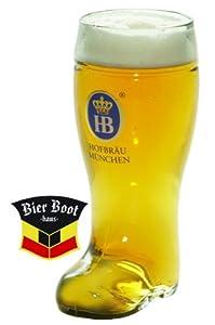 1 Liter Hofbrauhaus Munchen Glass Beer Boot from Oktoberfest Haus