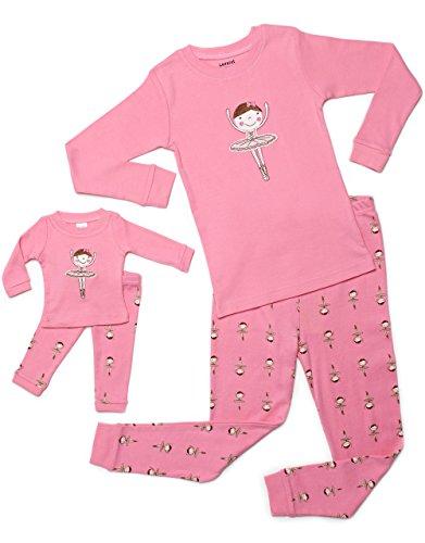 leveret-ballerina-matching-kid-doll-2-piece-pajama-100-cotton-8-years-pink