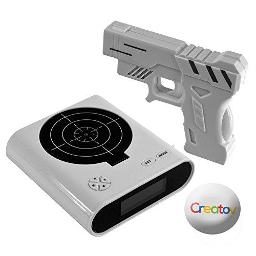 Gun Alarm Clock Target Wake Up Shooting Game Toy Novelty: Target Alarm Clock With Gun, Infrared Laser And Realistic