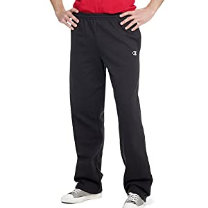 Champion Men's Open Bottom Eco Fleece Sweatpant, Black, Medium