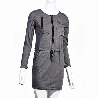damen kleider kleid kapuzenkleid sommer langarm rundhals mit zipper leger mode. Black Bedroom Furniture Sets. Home Design Ideas