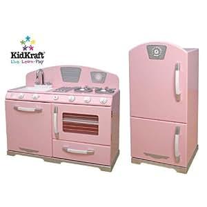 Kidkraft pink retro kitchen set toys games for Kitchen set toys amazon