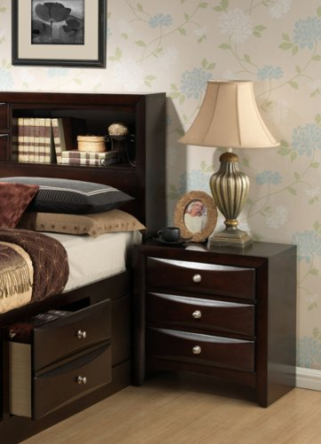 Roundhill Furniture Ankara Assembled Nightstand, Espresso Wood front-689956