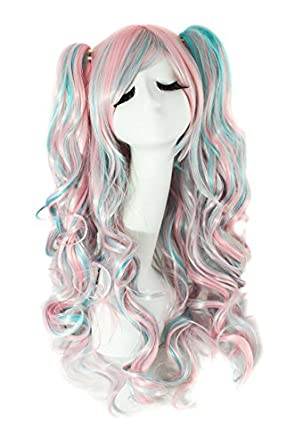 MapofBeauty Lolita 2 Clip Ponytails on Extensions Long Curly Party Costume Cosplay Wigs