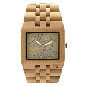 Wood fellas orologio in legno sanur logo wheat wood for Orologio legno amazon