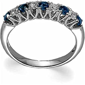 JewelryDays 14Kt White Gold Classy Sapphire and Diamond Anniversry Band at Sears.com