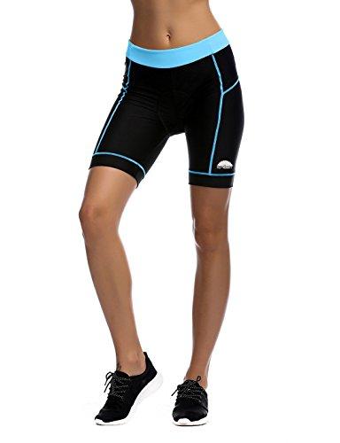 icreat damen fahrradhose radhose kurz radlerhose radshort sporthose mit sitzpolster blau m. Black Bedroom Furniture Sets. Home Design Ideas