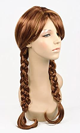 Anna Frozen Braided Pigtails Braids Adult Costume Wig