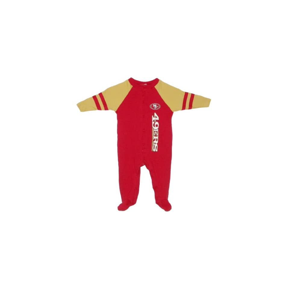 NFL San Francisco 49ers Baby / Infant Comfortable Fit One Piece Footed Long Sleeve Bodysuit / Romper / Onesie   Red Yellow (Size 6 9 )