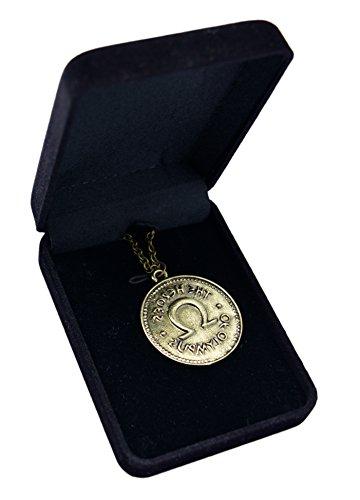 Elegante confezione di velluto, a doppio lato, Percy Jackson Camp Half Blood Heroes Of The Olympus Ivlivs accessori Jewelry-Collana con ciondolo a forma di moneta
