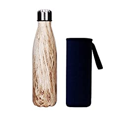 Yeevion Stainless Steel Water Bottle Insulated Hot Cold Cola Bottle Carrier Beige