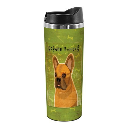 Tree-Free Greetings Tt02021 John W. Golden 18-8 Double Wall Stainless Steel Artful Tumbler, 14-Ounce, Fawn French Bulldog