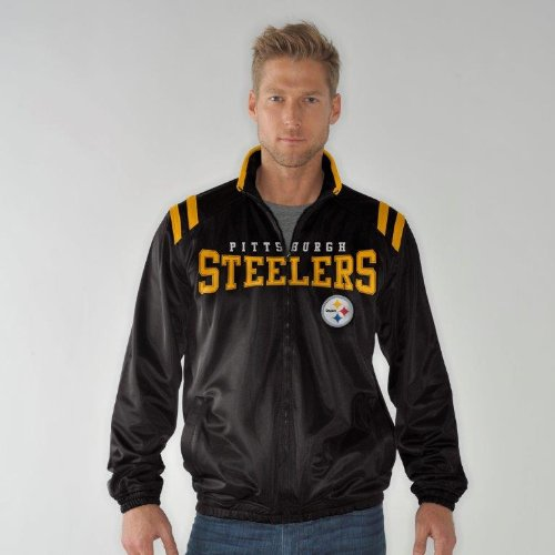 Pittsburgh Steelers Men's NFL Team Logo Track Full Zip Jacket (Large) at Amazon.com