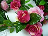 Artificial Silk Flower Rose w/ Buds Freesia Diamante Garland from GT Decorations