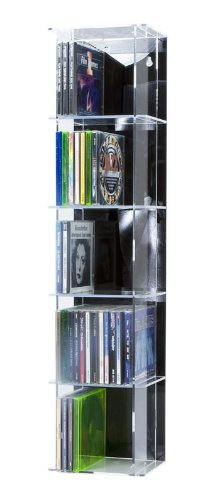 SORA Acrylic CD Tower with black back-panel