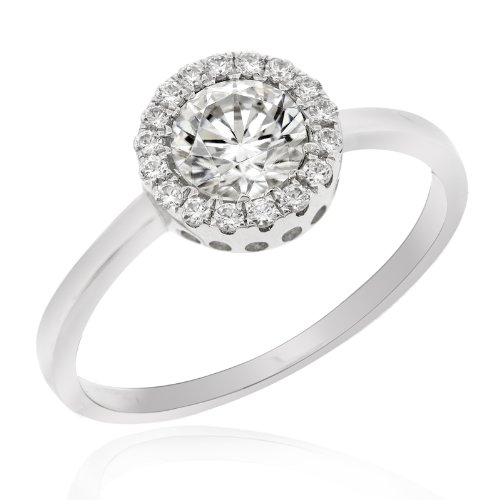 Swarovski CZ featuring 925 Sterling Silver Ring with Rhodium Plating (Ring Size 5.5)