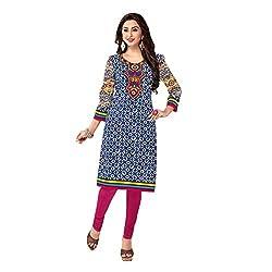 Stylish Girls Women Cotton Printed Unstitched Kurti Fabric (SG_K1020_Blue_Free Size)