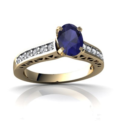 14Kt Yellow Gold Sapphire And Diamond Oval Art Deco Ring - Size 4