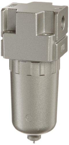 "SMC AF20-N01-2Z Compressed Air Filter, Removes Particulate, Metal Bowl, Manual Drain, 5 Micron, 53 scfm, 1/8"" NPT"