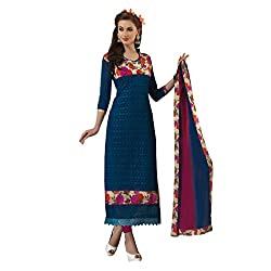 Resham Fabrics Blue Chanderi & Bhagalpuri Dress Material