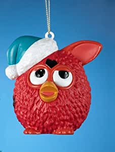 """3.5"""" Red Furby Wearing a Blue Glittered Santa Hat Christmas Ornament"""