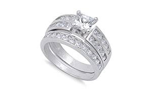 Sterling Silver Wedding Set Engagement Ring Clear Square Cut CZ 6mm Solid 925 Size 5 by Sac Silver Ring Size 5