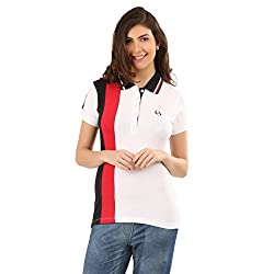 Oriel Merton Women's Cotton Polo (OMF005-WH-RD-XS_Multi_X-Small)