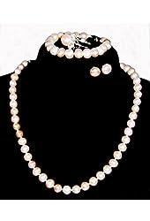 "6.0~8.0mm Freshwater Cultured Lavender Pearl Necklace (17.5"" length)/Bracelet (7.0"" length)/Ring/Earrings Set"