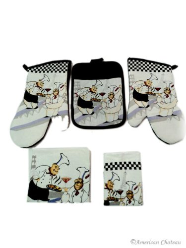 Fat French Chef Linen Towel Set-Towels Oven Mitts Quilted Holders Pot Holder