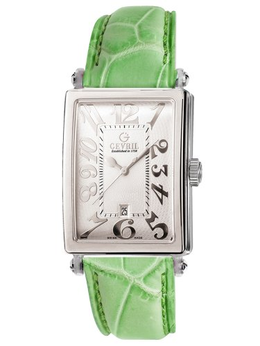Gevril Women's 7040N.6A White Guilloched Dial Genuine Alligator Strap Watch