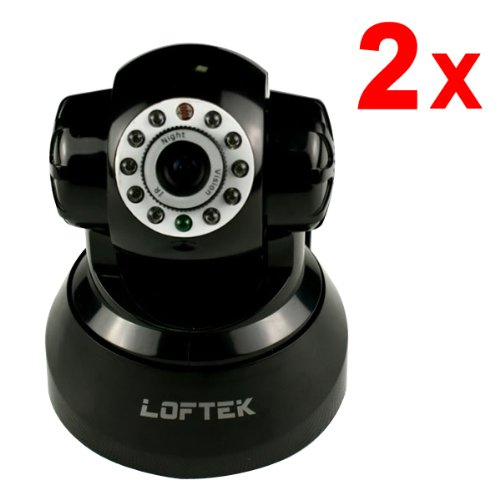 2 Pack Loftek Newest Cxs 2200 Wireless/Wired Pan:270°&Tilt:120° Dual Audio Alarm Ip Camera,15 Meter Night Vision,3.6Mm Lens ,67° Viewing Angle,Easy Installation.Black