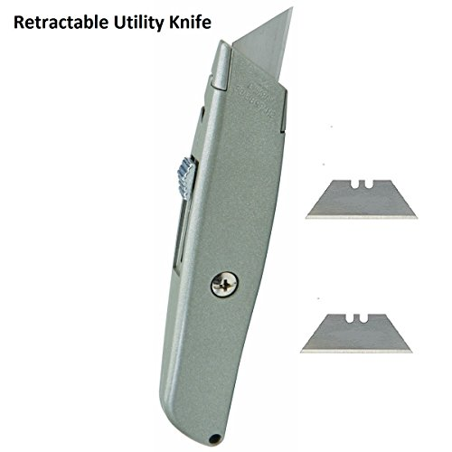 Retractable Utility Knife - Box Cutter - 2 Notch Replacement Utility Blades - 3 Position Retractable Blade Knife - Ideal