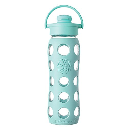 Lifefactory 22-Ounce BPA-Free Glass Water Bottle with Flip Cap & Silicone Sleeve, Turquoise (Lifefactory Water Bottle Flip Top compare prices)
