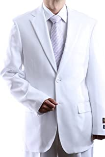 Men's Single Breasted Two Button White Dress Suit