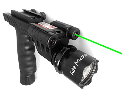 Ade Advanced Optics Tactical Optics Fore Head Handle Grip With Q5 Cree 200-Lumens Flashlight And Green Laser Sight