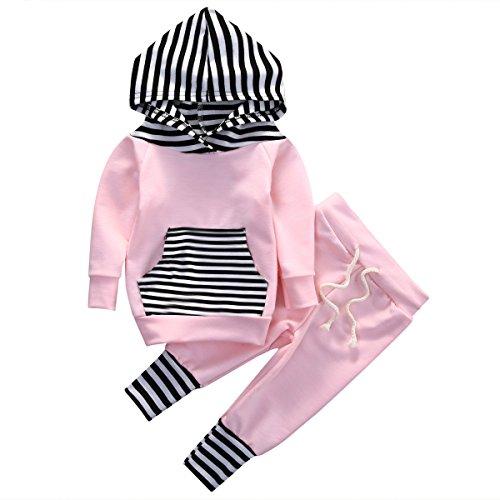 Newborn Baby Girls Hoodie Long Sleeve Striped Top Sweatshirt Pants Outfit Set (0-6months, Pink)