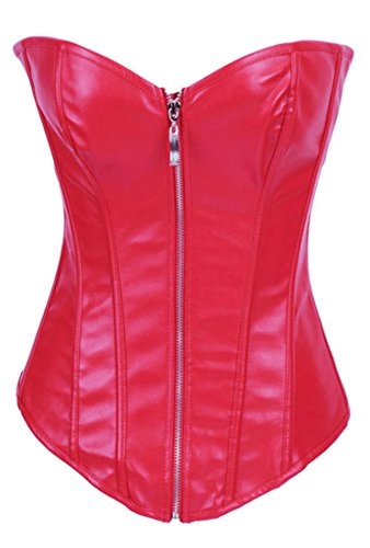 Leather Punk Zipper Bustier Red