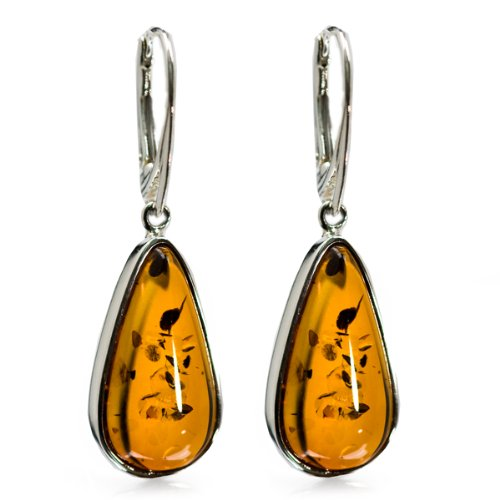 High Quality Honey Amber and Sterling Silver Tear-drop Leverback Earrings