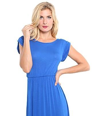KRISP® Femme Robe Longue Unie(Bleu roi (maxi),36)