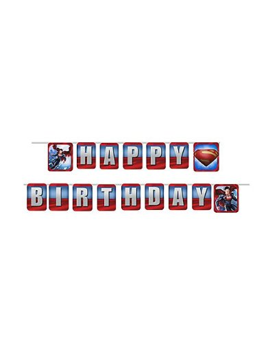 Superman Man of Steel Birthday Banner